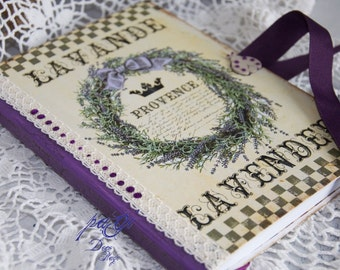 Lavende diary, journal, notebook, vintage style, vintage - Shabby Chic diary, notebook, blank books