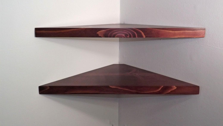 set of 2 24 inch floating corner shelves with black cherry. Black Bedroom Furniture Sets. Home Design Ideas