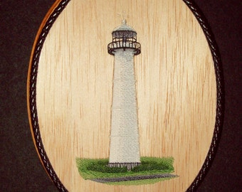 Biloxi Lighthouse Mississippi Landmark Wood Embroidery Art, Nautical Wall Decor, Beach Cottage Decor, Lake House Decor, Coastal Wall Decor