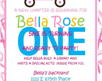 Baby FIRST birthday Book theme pink Invitation