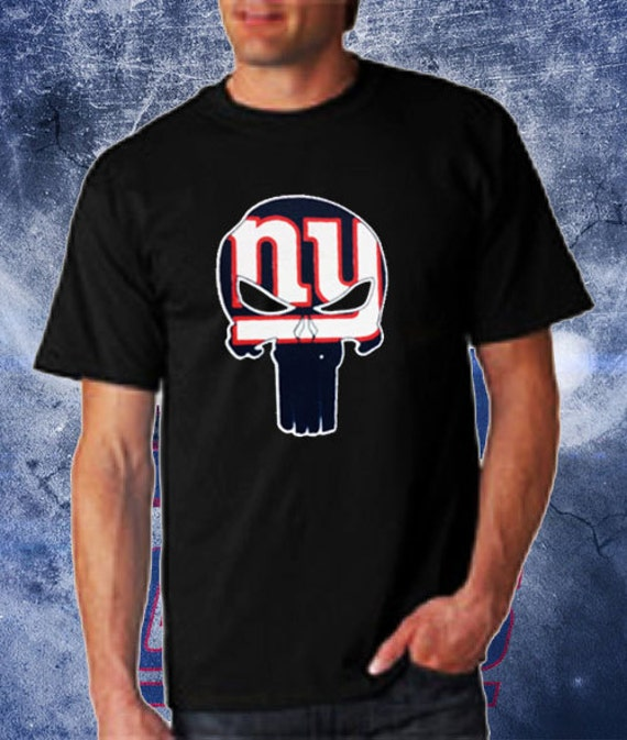 New York Punisher T Shirt Giants Team Colors By