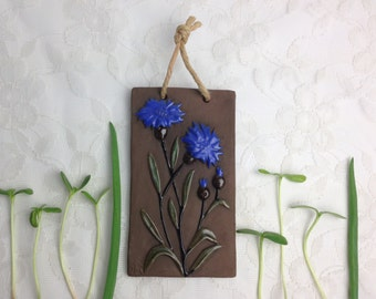 1960s wall Plaque by Nie / Ninnie Forsgren ceramic tile / Cornflower / Vintage Sweden
