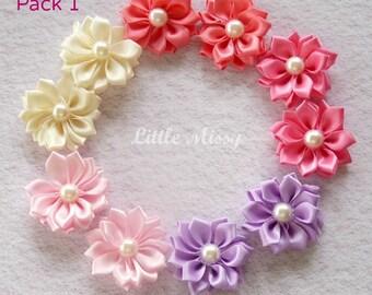 Wholesale RIBBON Flowers, Pearl Flowers, Ribbon Flowers, DIY Headband, Hair Clip Supplies, Satin Ribbon Flowers, Hair Bow Supplies,
