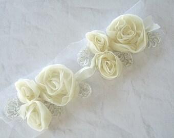 IVORY CHIFFON Flowers, Chiffon Flowers, Silver Leaves, Ivory Flower Embellishment, Ivory Flower Trim, Hair Bow Supply, Ivory Fabric Flowers