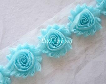 ICE BLUE Shabby Flowers, Chiffon Flower Trim, Shabby Chiffon Flowers, Wholesale Flowers, Shabby Rose Trim,  Headband Hair Bow Supplies