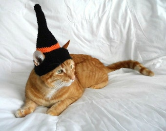 Crochet Witches Hat for Cat,Wizard Cat Hat, Halloween Hat for Cats, Pet Costume, Clothes for cats, Novelty hat for cats