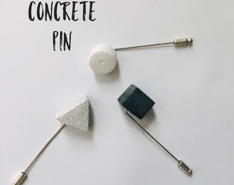 Concrete stick pin brooch