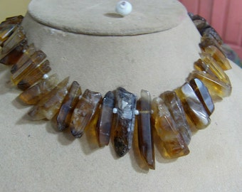 1 Strand Bio Lemon Quartz  Natural crystal shapes beads 10'' 75. grams 6X14 9X34 MM