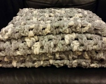 Huge Knit Chunky Throw Blanket Gift Crochet Handmade *free shipping*