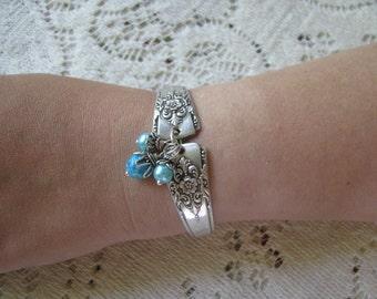 """Spoon Bracelet, Silverware Jewelry,  Antique """"Mountain Rose, Wm Roger, 1954,""""  Wm. A. Rogers, 1957"""