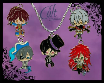 Black Butler sterling silver / faux leather necklace with your choice of charm. Free UK postage