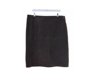 Monsoon Womens Pencil Suede Skirt W34 L24 Brown