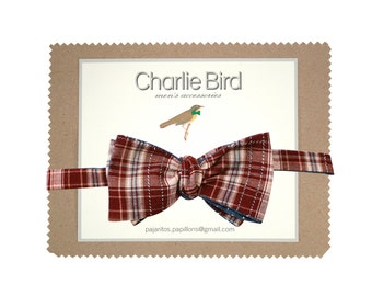 Double sided checked bow tie
