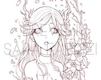 Deer Girl - LINEART for coloring