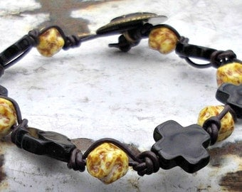 Quartz Gemstone Cross, Hand Knotted Leather Bracelet, Cross Bracelet, Christian Jewelry, Bohemian Jewelry, Boho Chic, Buffalo Horn Beads