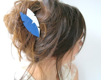 Feather hair clip, Indian and ethnic hair jewel, dark blue and white hair clip, hair grip