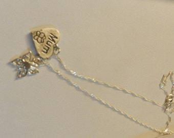 A Simply  925 Silver MUM Heart Necklace with Butterfly  V4492