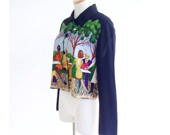 the bryant park cropped blouse . novelty print cropped blouse . vintage crop top