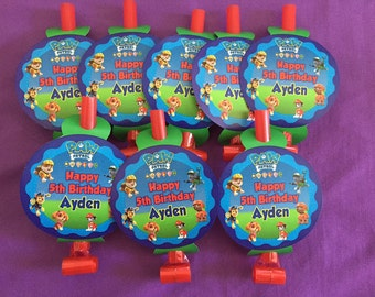 12 Personalized Paw Patrol Party BlowOuts, Party Blowers, Party Favors