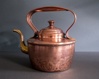 Antique copper and brass kettle, Victorian kettle, decorative piece, country style, rustic decor, boho home