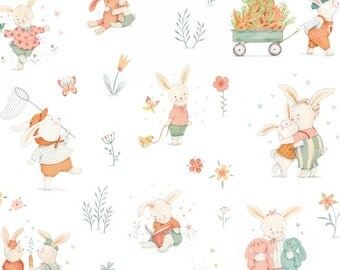 Bunny Fabric - Bunny Tales from Studio e - Fabric by the yard - Modern fabric - Quilt fabric - Bunny Scene