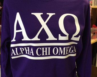 Custom Alpha Chi Omega Collegiate Style Comfort Colors Tanks, Short Sleeves, Long Sleeves, and Sweatshirts
