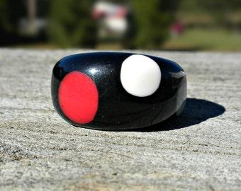 Polka Dot Ring, Chunky Black Plastic Ring, Large Size Ring, Size 9, Middle Finger Ring, Black Ring, Big Plastic Ring, Large Band Ring