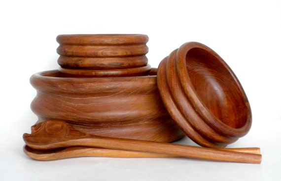 Teak Wood Pieces ~ Teak salad bowl set vintage bowls by bunnyfindsvintage