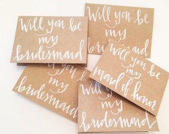"""Handletterd """"Will you be my Bridesmaid"""" Cards//Custom Cards"""