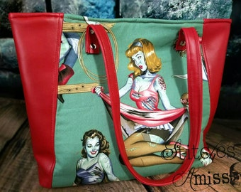 Zombie purse, zombie pinup purse, zombie tote bag, retro rockabilly pinup bag MADE TO ORDER