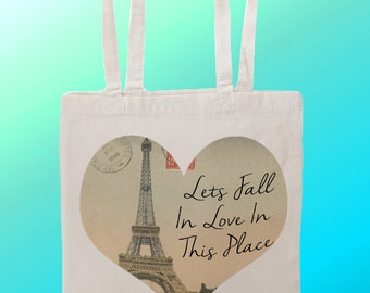 Fall In love on Paris  - Reuseable Shopping Cotton Canvas Tote Bag