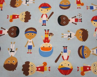 Sports Kids Cotton Fabric in Blue Designed by Anne Kelle for Robert Kaufman Fabrics