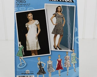 Dress Pattern Uncut Sewing Pattern Simplicity 2965 Size 4,6,8,10,12
