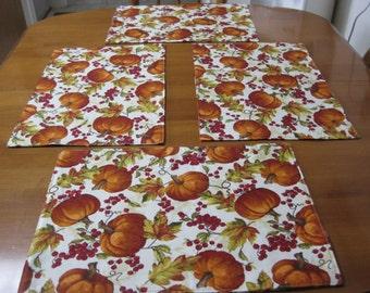 Place mat, Quilted Place mat, Thanksgiving Place mat, Fall Decor, Pumpkin Place Mat, Harvest table linens, Reversible Place mats, Fall Decor