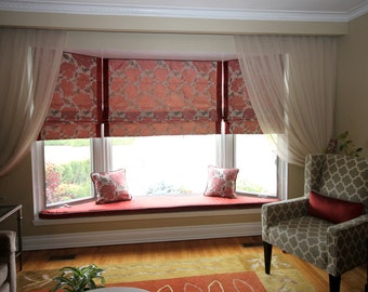 "Flat Roman Shade ""Wingate"" with borders and the chain mechanism, Cotton Roman Shades, Window Treatments, floral pattern, Ready to made"