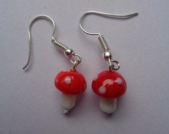 Red toadstool glass lamp work bead dangly Earrings