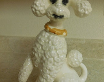 Vintage Tall Ceramic White Poodle Gold Collar