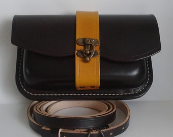Leather Handmade shoulder bag in Chocolate and Tan