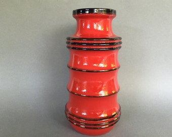 Scheurich  266 / 28 Pagoda deep Red / Black Vintage vase,   made in the 1970s in West Germany Pottery. WGP vase.