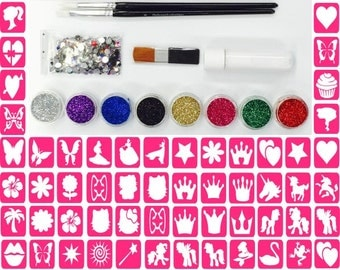 Glitter Tattoo Kit 29 - Princess 96 Girls Mini Stencils 8 Glitters Gems Glue