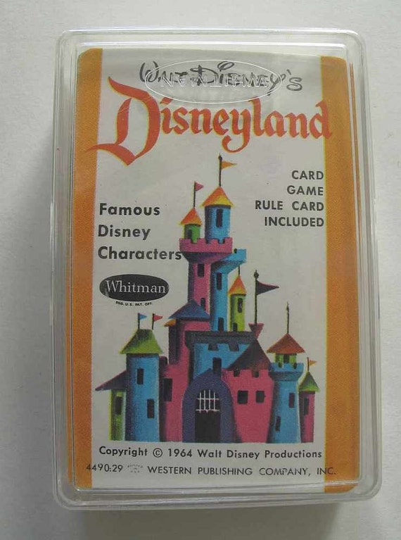 Disneyland card game, Walt Disney card game, 1964 Disney cards, new in plastic case, playing cards, Disney memorabilia, Disney collectibles