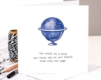 Bon Voyage Card; The World Is A Book; Travel Card; Farewell Card; Leaving Card; Goodbye Card; GC274