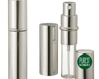 Silver Perfume Atomizer, New, Empty, Refillable Purse Spray Bottle, Holds 10ml of Perfumes