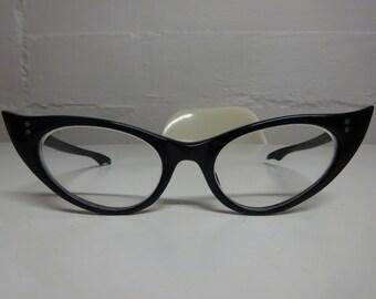 Vintage 1950's Black Pointy Cat Eye Eyeglasses - FREE SHIPPING