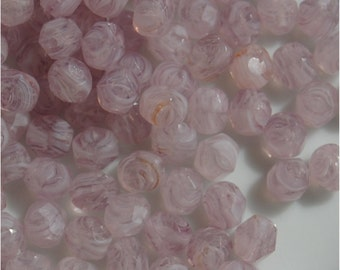 FIRE POLISH BEADS, 6mm, Milky Amethyst, sold in units of 100 beads