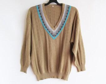 80s/90s • Vintage • Men's Jumper • V-Neck Jumper • Vintage Sweater • Vintage Men's Jumper • Vintage Preppy Jumper • Vintage Pullover