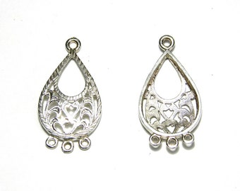 2 pc. Solid 925 Sterling Silver Filigree-style Earring Chandeliers 25 mm with 3 Loops