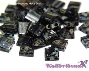 10 gr Miyuki Tila Beads 5 x 5mm - Picasso Opaque Smoky Black (4511)