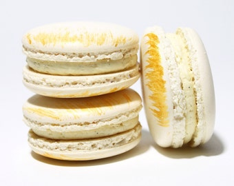 Vanilla French  Macarons -- Gift Box of 10 Tea Cookies--Best French Macaron --Bisou Bisou