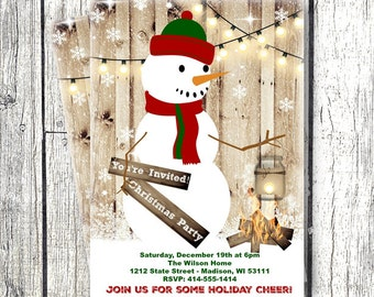 Christmas Party Invitation Snowman Holiday Party invite rustic printed or printable 5x7  xmas invitation winter wonderland party